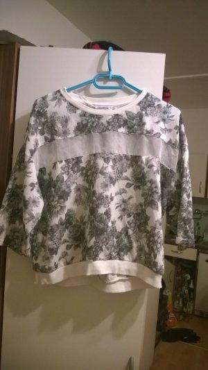 Pulli Shirt cropped Blumen transparente Bahn