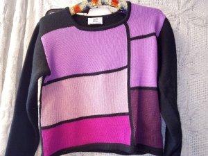 Pulli, violett, lila, rosa, schwarz, Alba Moda, 50% Merino, Gr. 34