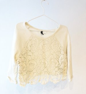 H&M Divided Lace Top natural white cotton