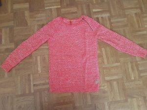 QS by s.Oliver Kraagloze sweater wit-rood Gemengd weefsel