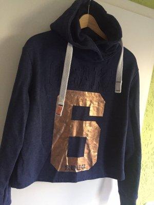 Superdry Maglione con cappuccio blu scuro-bronzo