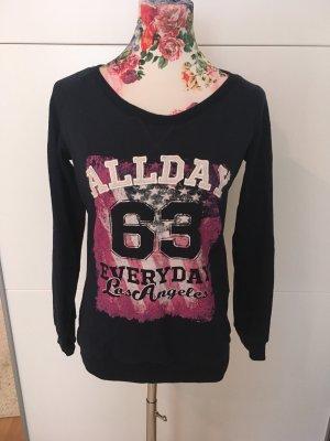 Crewneck Sweater dark blue-neon pink