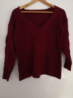 Maglione di lana rosso scuro-carminio