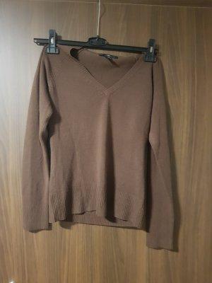 H&M Jersey con cuello de pico marrón claro