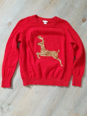 H&M Pull de Noël rouge brique-brun sable polyamide