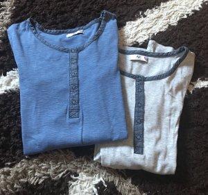 AJC Kraagloze sweater lichtgrijs-donkergrijs