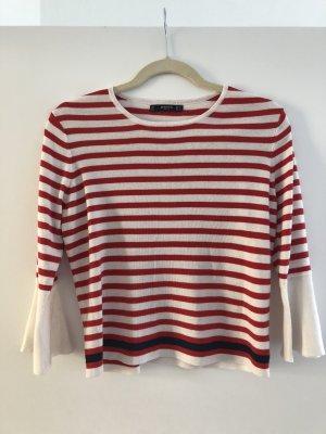 Pullover 36 S gestreift rot weiß Mango Trompetenärmel