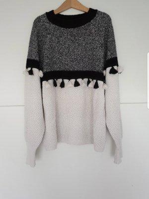 Mango Crochet Sweater black-oatmeal