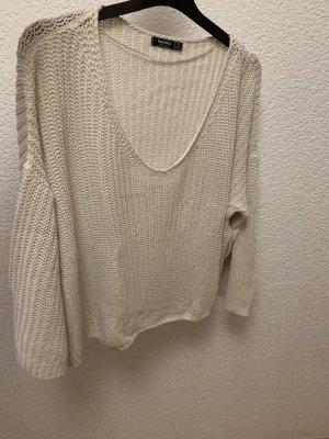 Bershka Coarse Knitted Sweater white