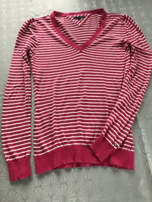 Tommy Hilfiger V-Neck Sweater white-magenta
