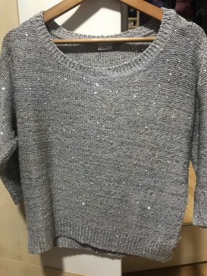 Jaqueline de Yong Coarse Knitted Sweater light grey-silver-colored