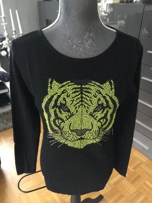 Pullover Amor & Psyche Tigermotiv schwarz/gelb S