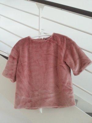 Pullover aus Kunstpelz in Altrosa