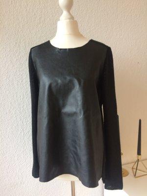 Pullover aus Lederimitat | Schwarz