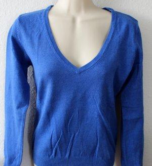 Vero Moda Jersey con cuello de pico azul aciano tejido mezclado
