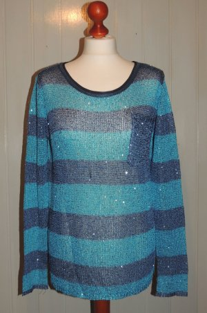 Pullover blau gestreift mit Pailletten Von Laura Scott