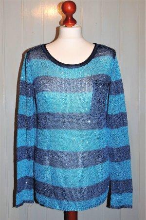 Pullover blau gestreift mit Pailletten von Laura Scott Größe 36/38