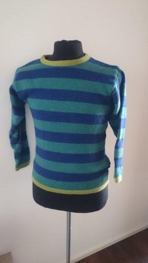 Pullover blau grün geringelt
