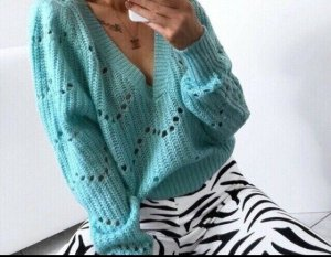 Crochet Sweater turquoise