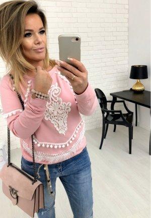 Pullover Blogger Sweater mit Häkel Spitze Pulli langarm in Rose' mit Bommel passt bei S-L
