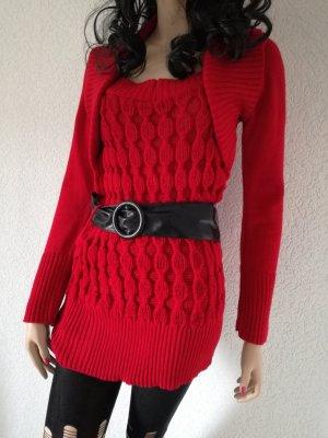 Pullover Bolero Look Zopfmuster Gürtel