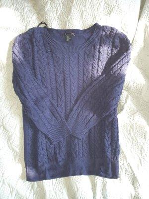 Basic Coarse Knitted Sweater dark blue