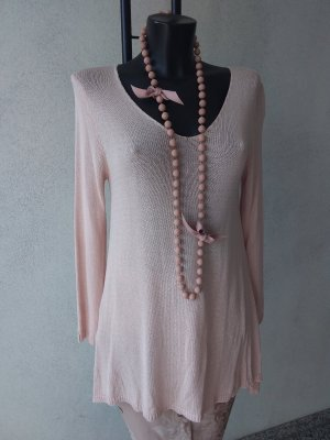 Made in Italy Jersey con cuello de pico rosa
