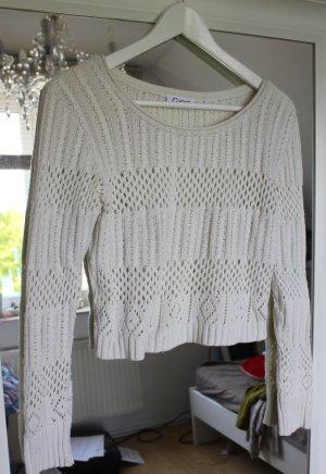 Pullover Crop Bauchfrei Strickpullover Häkelpullover weiß creme 36