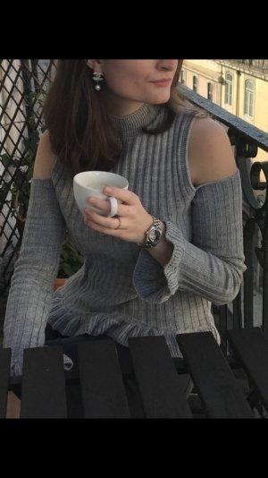 Pullover Cut Out/ Ripp Rüschen grau S