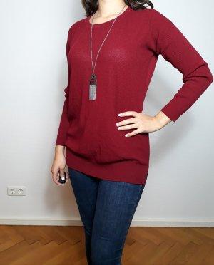 Pullover Damen Rot Weinrot Herbst Winter Pulli Gr L