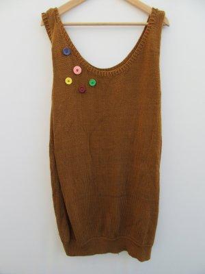 Pullover Damen Vintage Retro braun handmade Strick Top Gr. XL