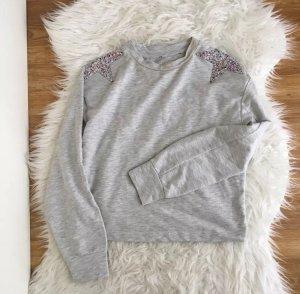 Pullover Damen XS S Grau Sterne Pailletten Cropped Sweatshirt