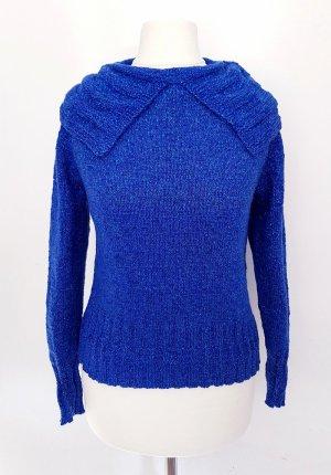 Maglione lavorato a maglia blu-argento Cotone
