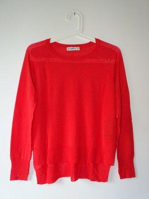 Pullover Dünn Rundhals Langarm hinten länger rot Gr. S Zara Knit (NP: 40€)