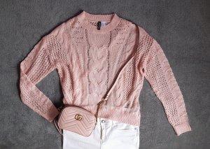 Pullover dünn Strick Zopfmuster Rosa Lachs H&M Gr. XS