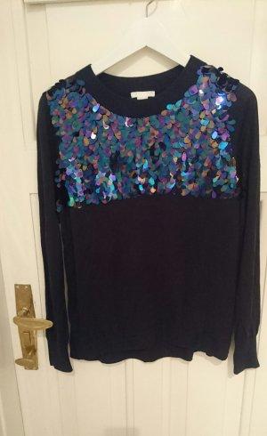 Pullover, dunkelblau mit Pailletten