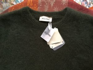 American Vintage Crewneck Sweater dark green angora wool