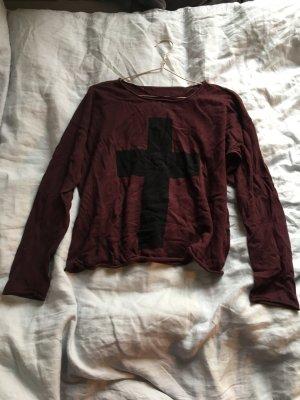 Pullover dunkelrot Auberginen lila rot mit Kreuz in schwarz oberteil Shirt langarm
