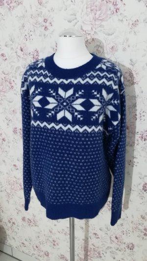 H&M Norwegian Sweater blue-white