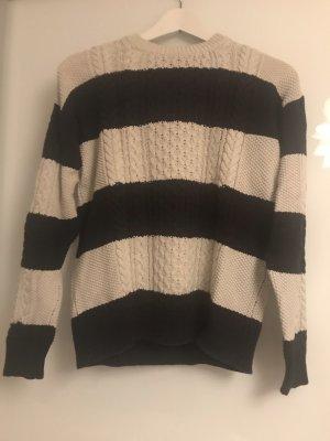 Mango Pull tricoté blanc cassé-bleu foncé