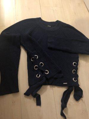 Guess Jersey de cuello redondo azul oscuro