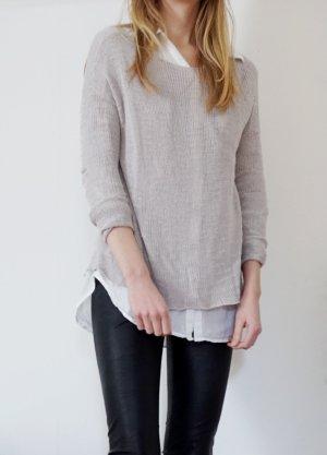 Pullover Feinstrick Feinstrickpullover Zara grau hellgrau XS