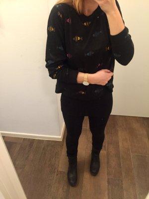 Pullover Fische Muster langärmlig mit Reißverschluss hinten schwarz locker