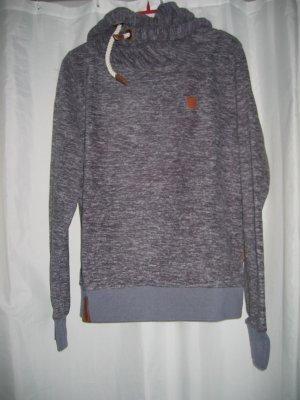 Pullover Fleecepullover Kapuzenpullover Gr. 40 indigo blau meliert NAKETANO