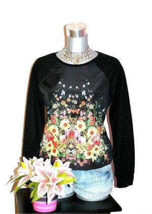 Pullover Flower gr. 40 Blumen Schwarz Blogger