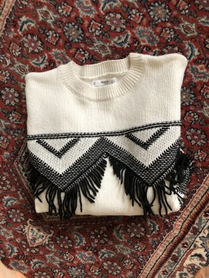 Mango Crochet Sweater white-black