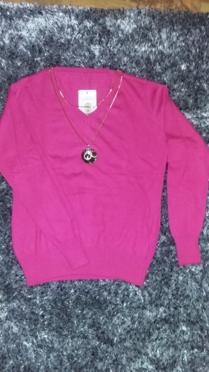 Pullover- Fuchsia Farbe aus Kaschmir,Wolle,Mikrofaser