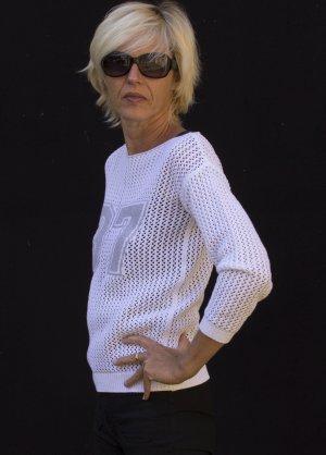 Pullover für den Sommer, Häkeloptik, weiß, Baumwolle, Gr. 36/38