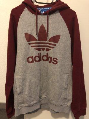 Adidas Pull à capuche gris-rouge
