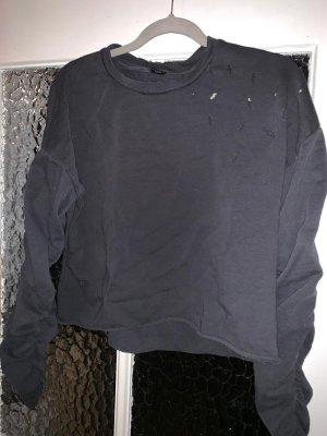 Pullover geraffte ärmel zerissen used destroyed look